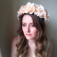 Floral crown flower crown rose crown headband wreath with peach silk roses festival - 'Olympia'
