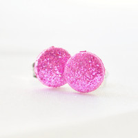 Tiny hot pink glitter dot post earrings by MeredithsLittleShop