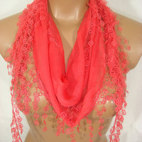 Coral Cotton Guipure Edged Spring Summer Scarf