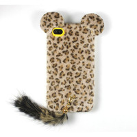 TPU Soft 3D Furry Leopard Cover Case Skin For Apple iPhone 4 4G 4S Latest Gold