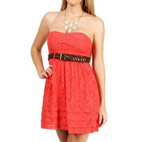Coral Lace Strapless Belted Dress