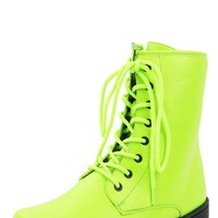 Qupid Missile-04 Neon Yellow Lace Up Combat Boots and Shop Boots at MakeMeChic.com