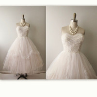 1950s Wedding Dress // Vintage 50s Strapless White Tulle Wedding Dress Gown XS