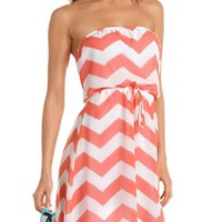 Tie-Waist Chevron Stripe Dress: Charlotte Russe