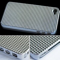 Triangle Chrome Hard Back Case Cover For Apple iPhone 4 4G AT&TSilver: Cell Phones & Accessories