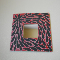 Mirror Handpainted Red Aboriginal Inspired by Acires on Etsy