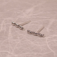 10mm Small Silver Twist Stud Earrings Sailor Chic Bar Studs Newport Line by SARANTOS