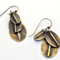 Fold Formed Earrings, Brass Dangles