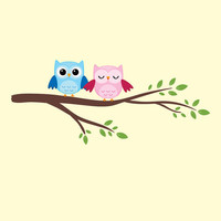 "Owls on a Branch Vinyl Wall Decal Kit with Printed Owls Children Baby Nursery Room Decor 11"" X 32"