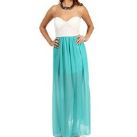 Ivory/Jade Strapless Lace Maxi Dress