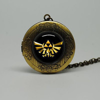 Vintage Style Glass Locket Necklace with The legend of Zelda