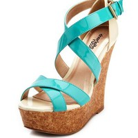 Patent Color Block Wedge Sandal: Charlotte Russe