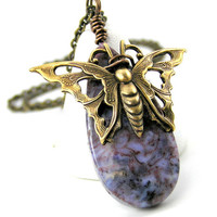 Purple Gemstone Pendant Necklace, Brass Butterfly, Red Creek Jasper, Spring Jewelry, Garden