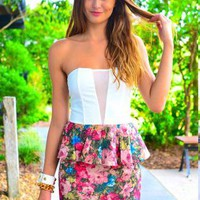 Strapless Dress with Mesh Top &amp; Floral Print Peplum Skirt