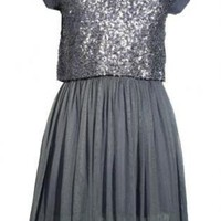 Gray Party Dress - Grey Mesh Dress with Sequin | UsTrendy
