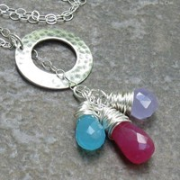 Sterling Silver Gemstone Lariat, Chalcedony & Candy Jade Briolettes Wrapped in Fine Silver... Delicate Necklace
