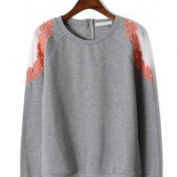 Pearl Embroidery Shoulder Grey Sweater S010442