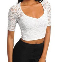 DIAMOND SEXY LACE CROP TOP.