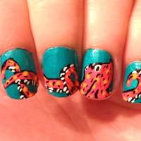 Octopus' Garden fake nails nail art by CompulsiveNails on Etsy