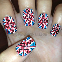Tribal/Aztec Union Jack British Flag by CompulsiveNails on Etsy