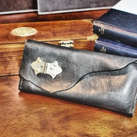 Black Leather Wallet - Leather Checkbook Wallet with Industrial Gold Hinge Hardware