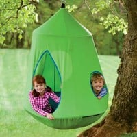HearthSong Nylon Canvas HugglePodTM HangOut with LED Lights, in Green
