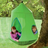 HearthSong Nylon Canvas HugglePod(TM) HangOut with LED Lights, in Green