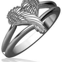 Winged Love, Angel Heart Wings Ring, 11.5mm in Sterling Silver
