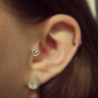 Sterling Silver Heart Shaped Tragus Earring 20 gauge