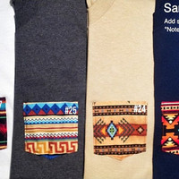 Customized Tribal Pocket Tee Sizes: Unisex Small, Medium, Large, Extra Large