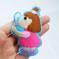 Felt keychain, ornament,  key ring, charm, - little girl playing bubble soap