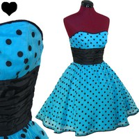 POLKA DOT 50s Rockabilly BETSEY JOHNSON Full Skirt PROM Dress S Black Blue Party POLKA DOT 50s Rockabilly BETSEY JOHNSON Full Skirt PROM Dress S Black Blue Party - eBay (item 300675667423 end time Apr-07-12 10:30:58 PDT)