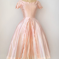 vintage 1950s silk party dress with pleats [Pleated Échappé Dress] - $228.00 : ADORED | VINTAGE, Vintage Clothing Online Store