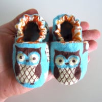 Soft and Cute Owl Baby Shoes by jengalaxy on Etsy