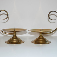 Vintage Pair of Brass Chamberstick Candle Holders Large Chamberstick Candle Holder Mid Century Modern