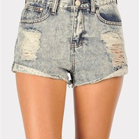 Distressed High Waisted Short - Blue