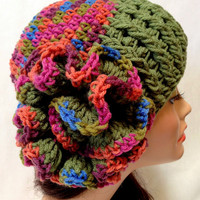 Women's Crochet Derby Hat. Autumn and Spring Fashion Hat. Cochet Flower Hat