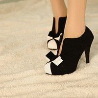 WOMEN SEXY HIGH HEEL BLACK+WHITE TIE FASHION ANKLE SHOES CS35