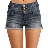 Light Denim High Waisted Roll Up Shorts