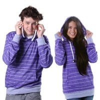 Hoodie Buddie MP3 Earbuds Pullover Purple Brushed Stripe Sweatshirt Jacket Headphone (Large)
