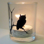 Owl on Branch Votive Candle Holder
