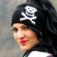 Knitted Skull Headband Black & White Ear Warmer by EmofoFashion and NEW Colors too. Women Headband, Hair cover
