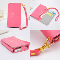 Fashion Pink Multi-function Soft Wallet with Phone and Card Pocket