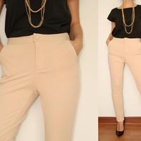 Beige Pants Skinny High waisted pants for Women Office Fashion