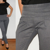 High Waisted Pants Skinny Trousers in Grey for Women Office Fashion