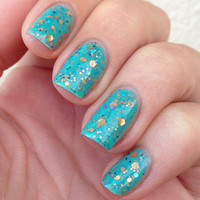 "Nail polish - ""Serenity"" copper, turquoise and lavender glitter in a green base - new 12 ml bottle"