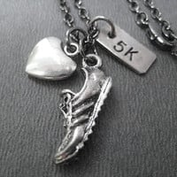 LOVE to RUN 5K - Running Necklace 3 Pendants with Puffed Heart - Running Jewelry - 18 inch gunmetal chain - 5K Runner - Road Race Jewelry