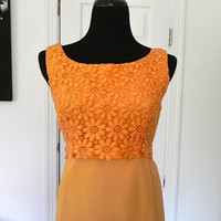 Vintage Orange Sleeveless Union Made Dress by vintageworldrocks