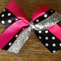Hot pink, black and white polka dot with sparkly silver hair bow, cheer or dance team