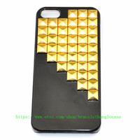 Black iPhone 5 Case with gold pyramid stud for iPhone 5 ,iPhone hand case cover  d-172